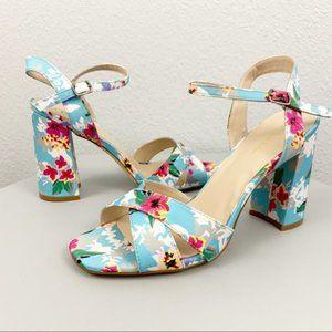 7.5 NIB Nicole Miller Floral Barbara block heels